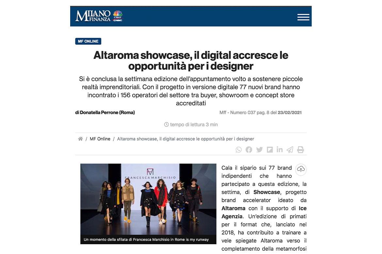 Milano Finanza #Altaroma